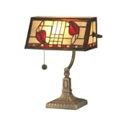 Dale Tiffany Henderson Bankers 14'' H Table Lamp with Rectangular Shade