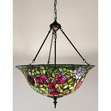 Meyda Tiffany Victorian Tiffany Rosebush 3 Light Inverted Pendant