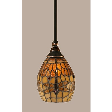 Toltec Lighting 1-Light Stem Mini Pendant w/ Hang Straight Swivel; Black Copper