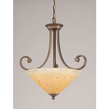 Toltec Lighting Curl 3 Light Uplight Inverted Pendant; Amber Crystal Glass