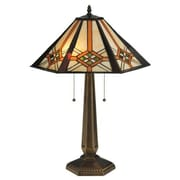 Meyda Tiffany Crosshairs Mission 25'' H Table Lamp with Cone Shade