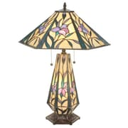 Meyda Tiffany Iris Hex Lighted Base 25'' H Table Lamp with Cone Shade