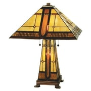 Meyda Tiffany Sierra Prairie Mission Lighted Base 25'' H Table Lamp with Cone Shade