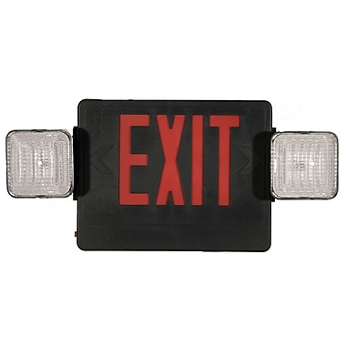 Morris Products Combo LED and Exit / Emergency Light in Red LED and Black Housing