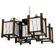 Oriental Furniture Watashi 5-Light Japanese Hanging Lantern Chandelier