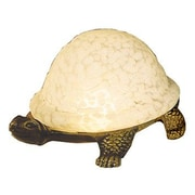 Meyda Tiffany Turtle Art Glass 4'' H Table Lamp with Bowl Shade; White