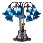 Meyda Tiffany Victorian Pond Lily 10 Light 22'' H Table Lamp with Bell Shade; Blue