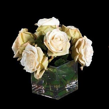 Tree Masters Inc. Roses in Glass Cube Vase; Champagne