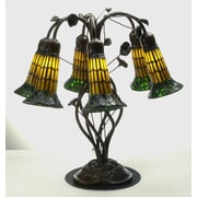 Meyda Tiffany Pond Lily 19'' Table Lamp; Bright Yellow and Dark Green