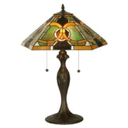 Meyda Tiffany Moroccan 22.5'' Table Lamp; Green and Amber