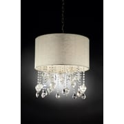OK Lighting Drape 3-Light Crystal Drum Pendant