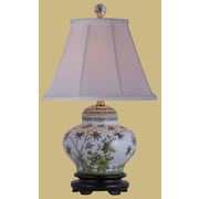 Oriental Furniture Porcelain Palm Tree Jar 15'' H Table Lamp with Empire Shade
