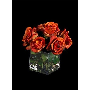 Tree Masters Inc. Roses in Glass Cube Vase; Red / Orange