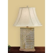 JB Hirsch Woven Wicker 25'' H Table Lamp with Bell Shade