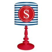 Oopsy Daisy Striped Monogram 21'' H Table Lamp with Drum Shade; Red / Blue and Red