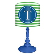 Oopsy Daisy Striped Monogram 21'' H Table Lamp with Drum Shade; Blue / Green and Blue