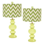 EC World Imports Urban Glass 26'' Table Lamp with Drum Shade (Set of 2); Margaritaville Lime