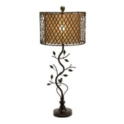 Woodland Imports Beautiful Metal Polystone Rattan 35'' H Table Lamp with Drum Shade