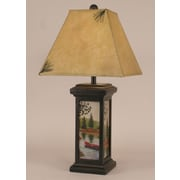 Coast Lamp Mfg. Rustic Living Small Square Pot 28.5'' H Table Lamp with Square Shade