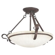 Sunset Lighting 3 Light Semi-Flush Mount; Rubbed Bronze