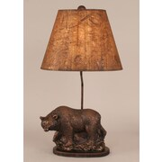 Coast Lamp Mfg. Rustic Living Walking Bear Pot on Wooden Base 26'' H Table Lamp with Empire Shade