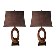 Jenkins Lamp, Inc. Shell Ring 30'' H Table Lamp with Rectangular Shade (Set of 2)