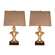 Jenkins Lamp, Inc. Sahara Marble 33'' H Table Lamp with Rectangular Shade (Set of 2)