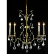 Elegant Lighting Monarch 4 Light  Chandelier; Antique Bronze / Silver Shade (Grey) / Royal Cut