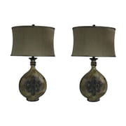 Jenkins Lamp, Inc. Fleur De Lis 30'' H Pot Lamp with Oval Shade (Set of 2)