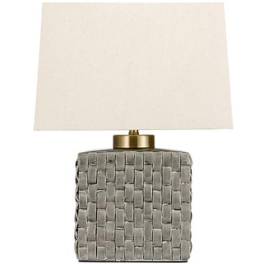 Oriental Furniture Basket Weave Porcelain Jar 23 '' Table Lamp; Gray