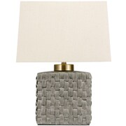 Oriental Furniture Basket Weave Porcelain Jar 23 '' Table Lamp; Gray
