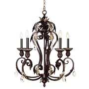 Livex Lighting Iron and Crystal 5 Light Chandelier in Hand Rubbed Bronze with Antique Silver Accents