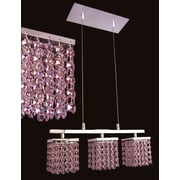 Classic Lighting Bedazzle 3 Light  Linear Chandelier; Crystalique-Plus Pink