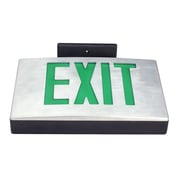Deco Lighting Single Face Cast Aluminum LED Exit Sign Light; Black Housing with Red Letters