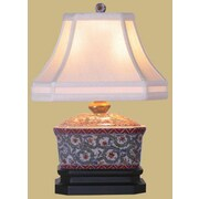 Oriental Furniture Porcelain Tea Candy Box 15'' Table Lamp