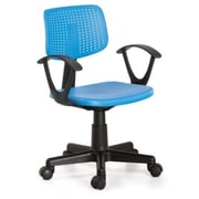 Hodedah Plastic Computer and Desk Office Chair, Fixed Arms, Blue (HI-3001 BLUE)