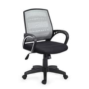 Hodedah Plastic Computer and Desk Office Chair, Fixed Arms, Gray (HI-5007 GREY)