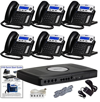 X16 Office Telephone System with (6) Charcoal Phones (XB1606CH)