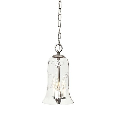 JVI Designs 3-Light Small Elongated Bell Jar Pendant w/ Star Glass; Pewter