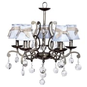 Jubilee Collection Elegance 5 Light Chandelier; Pink with White Sash and Light Pink Flowers