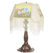 Meyda Tiffany Reverse Painted Roses 23.5'' H Table Lamp w/ Rectangular Shade