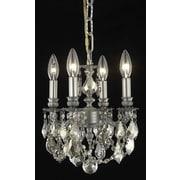 Elegant Lighting Lillie 4 Light Chandelier; Golden Teak (Smoky) / Strass Swarovski