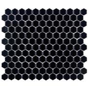 EliteTile Retro 0.875'' x 0.875'' Hex Porcelain Mosaic Tile in Matte Black