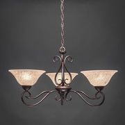 Toltec Lighting Olde Iron 3 Light  Chandelier with Italian Marble Glass Shade