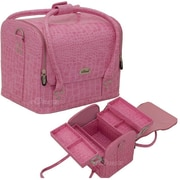 Sunrise Cases Professional Makeup Beauty Train Case; Pink Crocodile