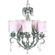 Jubilee Collection Caesar 5 Light Chandelier with Stripe Scallop Drum Shade; Pink Striped Scallop
