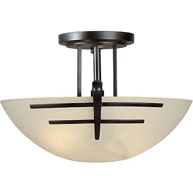 Forte Lighting 2 Light Incandescent Semi Flush Mount; Antique Bronze / Umber Linen