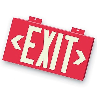 Barron Lighting Non-Toxic Photoluminescent Exit Sign w/ Red Letters