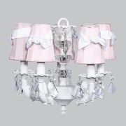 Jubilee Collection Stacked Glass Ball 5 Light Chandelier; White with White Sash
