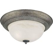 Forte Lighting 1 Light Flush Mount - Marble Glass; 14'' H x 6'' W / River Rock